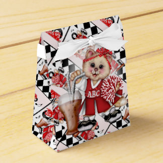 CAT CHEERLEADER CUTE Tent & Ribbon Favor Box