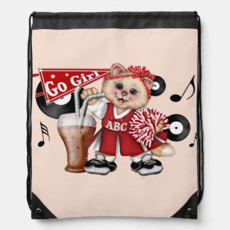 CAT CHEERLEADER GIRL CARTOON Drawstring Backpack