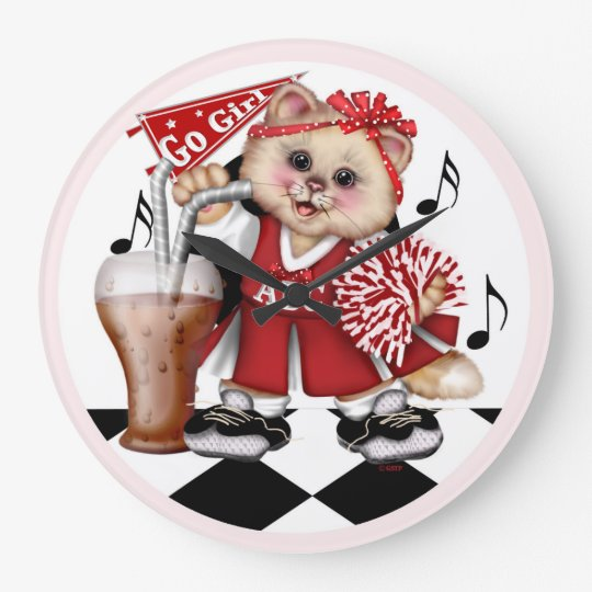 CAT cheerleader LARGE ROUND CLOCK LARGE