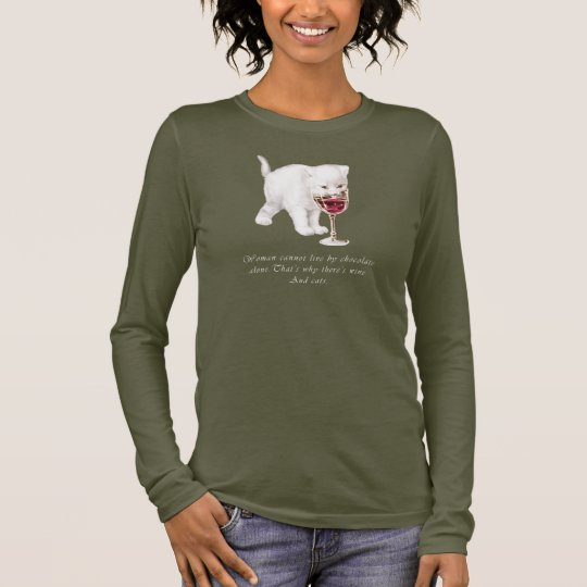 Cat Chocolate and Wine Quote T-Shirt
