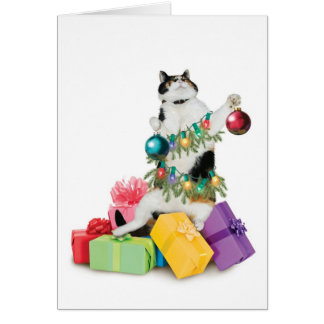 Cat Christmas Card Funny Cute Adorable Best