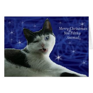 Cat Christmas Filthy Animal Card