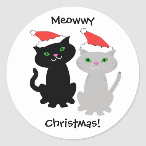 Cat Christmas stickers