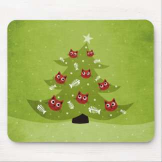 Cat Christmas Tree With Fish Ornaments Mouse Pad