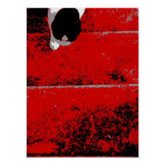 Cat Climbing Stairs Red Black White Print