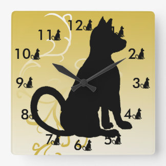 Cat Clock Black Cats Ornate Modern CricketDiane