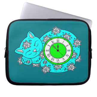 Cat Clock Laptop Sleeve