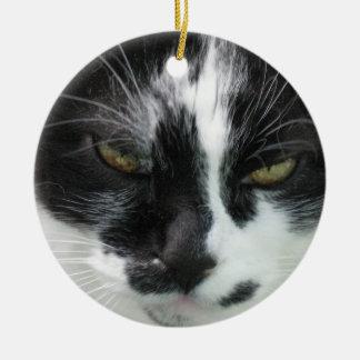Cat Close Up - Gandalf the Cat Round Ceramic Ornament