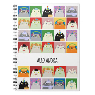 Cat Collage Funny Cute Cool Cartoon Vibrant Colors Notebook