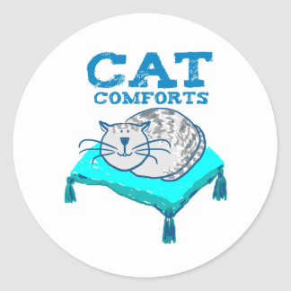 Cat comforts illustration of cat on a sticker
