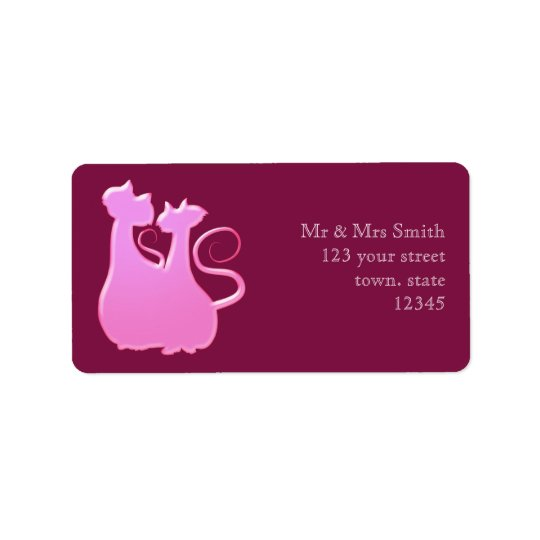 Cat Couple Candy Pink Love Silhouette Stylish Chic Label
