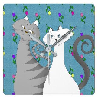 Cat Couple Floral Romantic Nostalgic Love Colorful Square Wall Clock