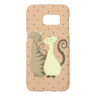Cat Couple Love Cartoon Cute Pink Pale Polka Dots Samsung Galaxy S7 Case