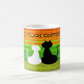 Cat Couple Love Silhouette Too Much Coffee Vibrant Coffee Mug