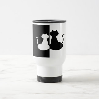 Cat Couple Silhouette Black White Contrast Minimal Travel Mug