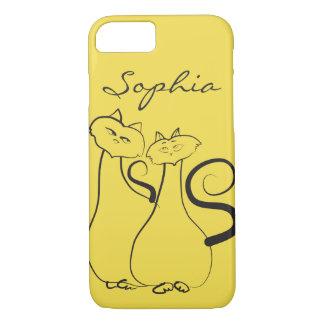 Cat Couple Sketch Love Simple Artistic Elegant iPhone 8/7 Case