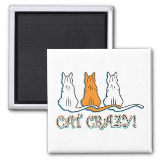 Cat Crazy Orange Tabby Cats Square Magnet