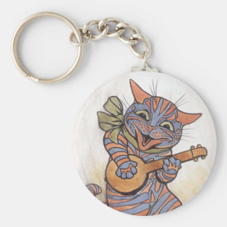 Cat crazy with banjo Louis Wain vintage art, gift Basic Round Button Keychain
