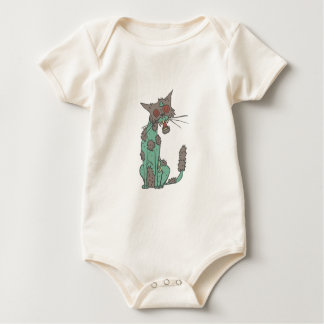 Cat Creepy Zombie With Rotting Flesh Outlined Hand Baby Bodysuit