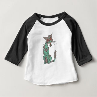 Cat Creepy Zombie With Rotting Flesh Outlined Hand Baby T-Shirt