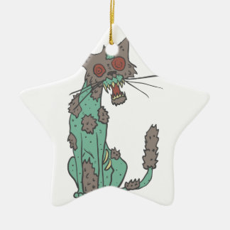 Cat Creepy Zombie With Rotting Flesh Outlined Hand Ceramic Ornament