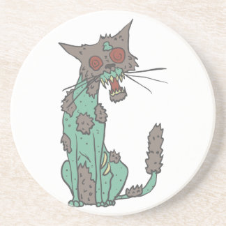 Cat Creepy Zombie With Rotting Flesh Outlined Hand Coaster