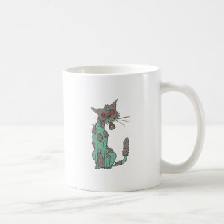 Cat Creepy Zombie With Rotting Flesh Outlined Hand Coffee Mug