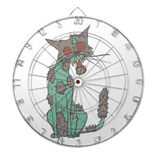 Cat Creepy Zombie With Rotting Flesh Outlined Hand Dartboard