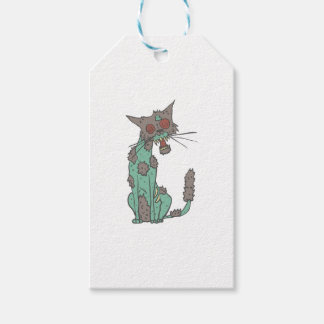 Cat Creepy Zombie With Rotting Flesh Outlined Hand Gift Tags