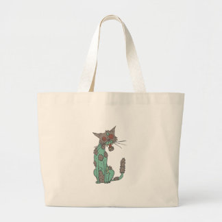 Cat Creepy Zombie With Rotting Flesh Outlined Hand Large Tote Bag