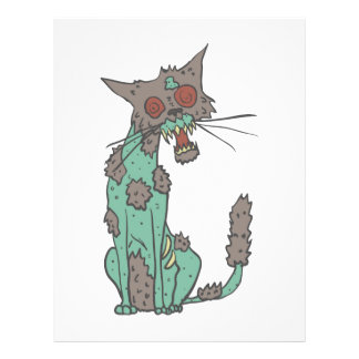 Cat Creepy Zombie With Rotting Flesh Outlined Hand Letterhead