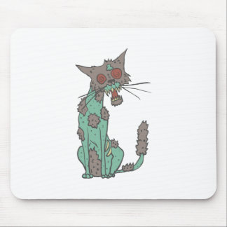 Cat Creepy Zombie With Rotting Flesh Outlined Hand Mouse Pad