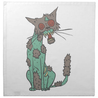 Cat Creepy Zombie With Rotting Flesh Outlined Hand Napkin