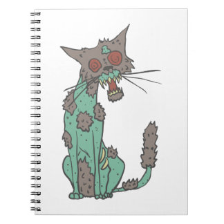Cat Creepy Zombie With Rotting Flesh Outlined Hand Notebook