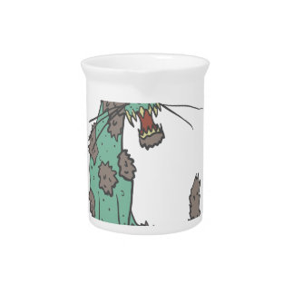 Cat Creepy Zombie With Rotting Flesh Outlined Hand Pitcher