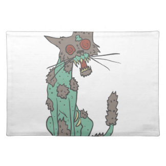 Cat Creepy Zombie With Rotting Flesh Outlined Hand Placemat