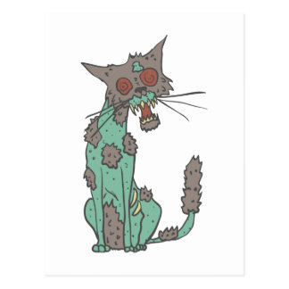Cat Creepy Zombie With Rotting Flesh Outlined Hand Postcard