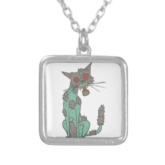 Cat Creepy Zombie With Rotting Flesh Outlined Hand Silver Plated Necklace