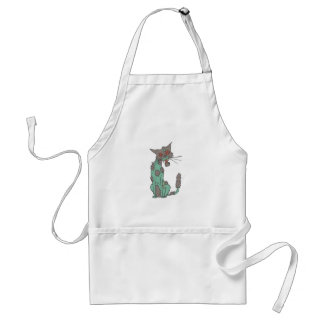 Cat Creepy Zombie With Rotting Flesh Outlined Hand Standard Apron