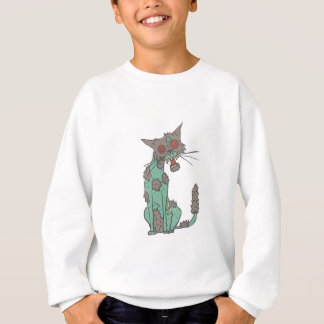 Cat Creepy Zombie With Rotting Flesh Outlined Hand Sweatshirt