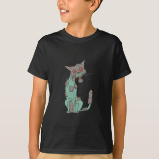 Cat Creepy Zombie With Rotting Flesh Outlined Hand T-Shirt