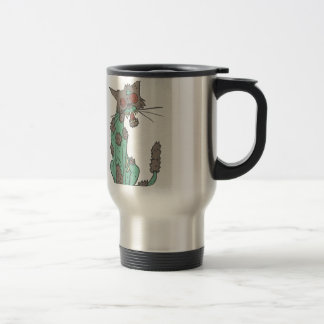 Cat Creepy Zombie With Rotting Flesh Outlined Hand Travel Mug