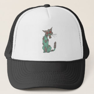 Cat Creepy Zombie With Rotting Flesh Outlined Hand Trucker Hat