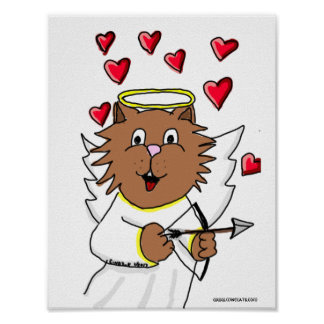 Cat Cupid Drawing Poster