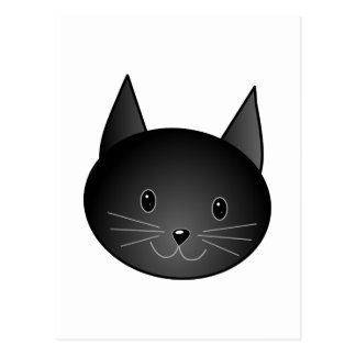 Cat. Cute black kitty. Postcard