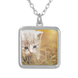 Cat Cute Cat Baby Kitten Pet Animal Charming Silver Plated Necklace
