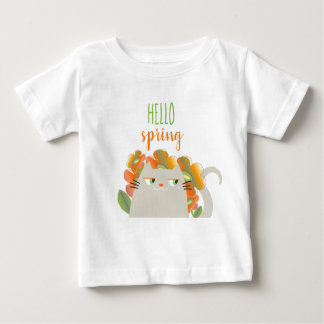 Cat Cute Hello Spring Floral Orange Bright Baby Baby T-Shirt