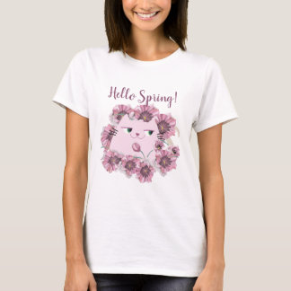 Cat Cute Spring Floral Purple Bloom Blossom Chic T-Shirt