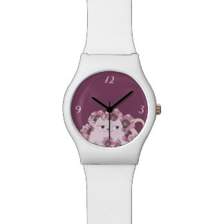 Cat Cute Spring Floral Purple Blooming Girly Chic Watch
