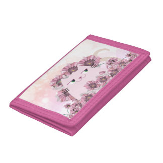 Cat Cute Spring Floral Purple Blossom Bloom Chic Trifold Wallet